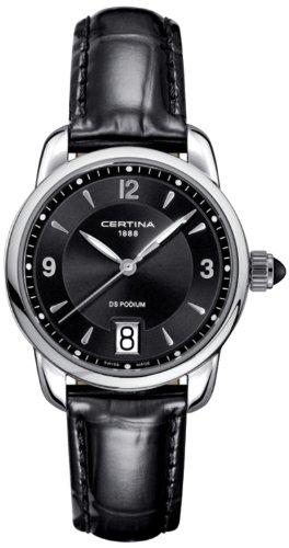 Certina C025.210.16.057.00 - Reloj para Mujeres, Correa de Cuero Color Negro