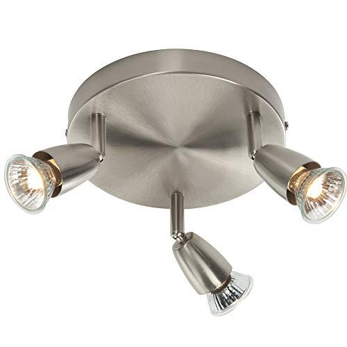 3X 50W GU10 | Modern justerbar trippel 3X lampa taklampa | satin nickel | rund köksö bänkskiva/butik kommersiell dunlampa | rörligt huvud lutning och roterande huvud | LED & dimbar