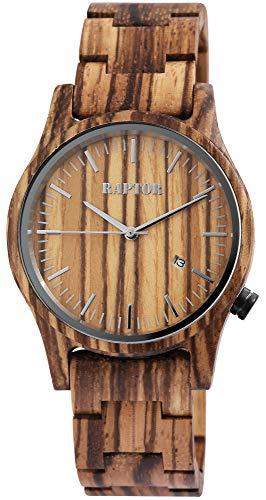 Raptor Reloj Análogo para de los Hombres de Miyota 2036 con Correa en Madera RA20243-001