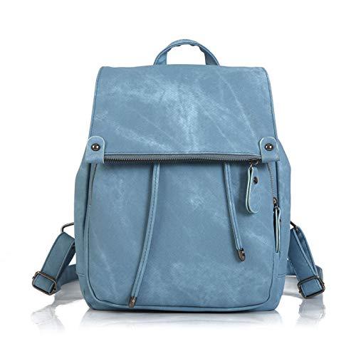Mochila para mujer, de piel sintética, ligera, para ir de compras, ir a la escuela, ir a la escuela, Blue (Azul) - XT004
