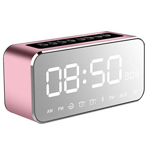 Nrpfell Altavoces Led Estéreo De Espejo Reproductor De Mp3 Portátil Altavoz Bluetooth con Radio FM Hora Reloj Despertador (Oro Rosa)