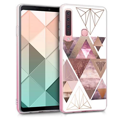 kwmobile Hülle kompatibel mit Samsung Galaxy A9 (2018) - Hülle Handy - Handyhülle Glory Dreieck Muster Rosa Rosegold Weiß