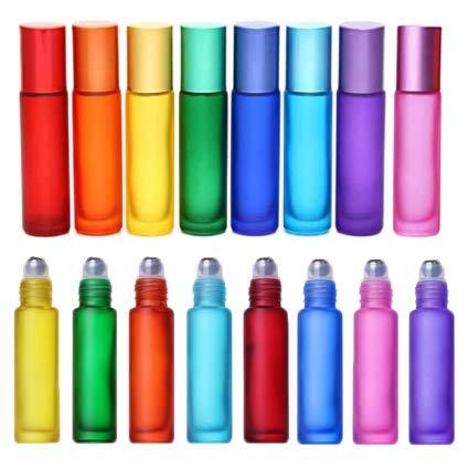 HLPIGF Botellas de Rollo de Colores de 10 Piezas, Botellas de Rodillo de Masaje de Vidrio, Frascos de Tubo, Contenedores para Aceites Esenciales, Perfumes y BáLsamos para Labios, 10 Ml