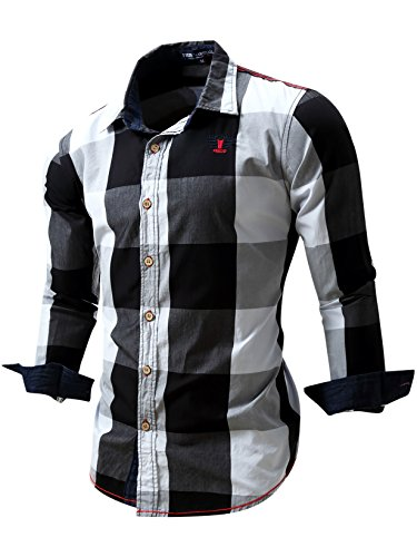 Neleus Men's Long Sleeve Button Down Plaid Shirts,112,Black,L,EUR XL