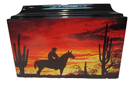 Cowboy Western Horse Sunset Adult Urn