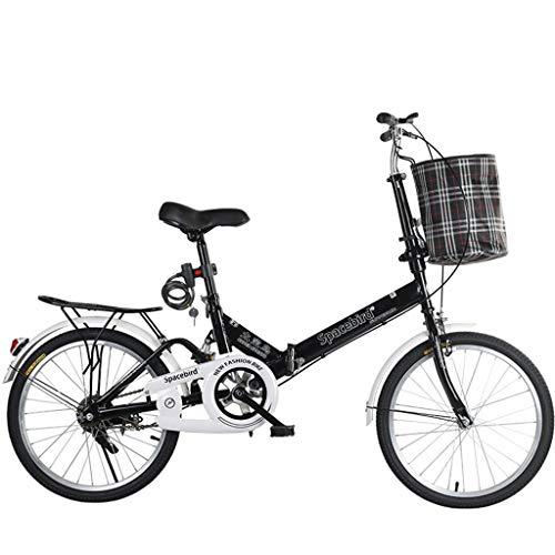 JYXJJKK Bicicletas de montaña 20 Pulgadas de Bicicletas Plegables portátiles Hombre Mujer señora Adulta Ciudad del Viajero al Aire Libre Deporte de la Bici con Cesta, Negro