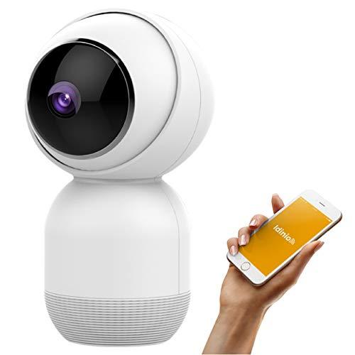 idinio® View follow, Indoor-Kamera 355° schwenkbar mit Bewegungsverfolgung, 1080p, Bewegungserkennung, IR-Nachtsicht, Alarmmeldung, Gegensprechfunktion, App und Alexa