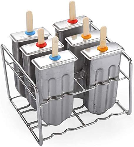 JWCN Eislutscher aus Edelstahl Werkzeugsatz zur Herstellung von Eislutschern 6 Eislutscherformen mit passendem Rahmen Auslaufsicherer Silikondichtring Leicht zu zerlegen und zu reinigen Uptodate