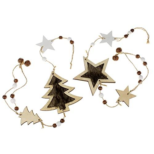 MACOSA DJ35955-066 - Set di 2 ghirlande in legno per albero di Natale, rotonde, in pelliccia da appendere, decorazione natalizia invernale