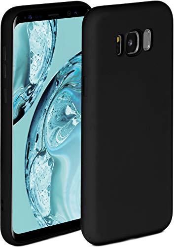 ONEFLOW Soft Hülle kompatibel mit Samsung Galaxy S8 Hülle aus Silikon, erhöhte Kante für Displayschutz, zweilagig, weiche Handyhülle - matt Schwarz