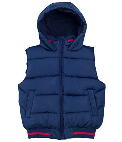 FEOYA Winter Kapuzenweste Leichte Daunenweste Jungen und Mädchen Winddicht mit Reißverschluss Ärmellos Packbar im Freien Steppweste (Blau, 160(150-158CM))