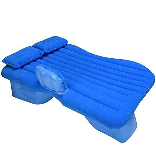Guoziya Flocage Air Matelas Gonflable Voiture Lit Pliant Gratuit Camping Voyage en Plein Air Coussin SUV Siège De Sommeil Portable, 130X80cm (Couleur : Bleu)