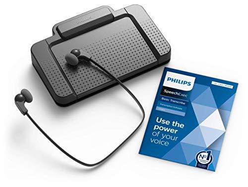 Philips LFH7177/06 Wiedergabe-Set, ergonomischer USB-Fußschalter ACC2330, Stereo-Unterkinn-Kopfhörer LFH0334, inkl. Software SpeechExec Basic 2-Jahres-Abo
