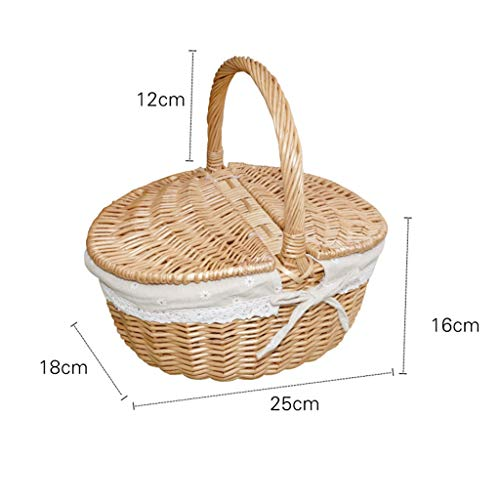 LYHD Hand Made Picnic Basket, Natural Wicker Woven Camping Rattan Shopping Collection Storage Hamper With Lid Handle for Outdoor Eco Friendly Well-Designed