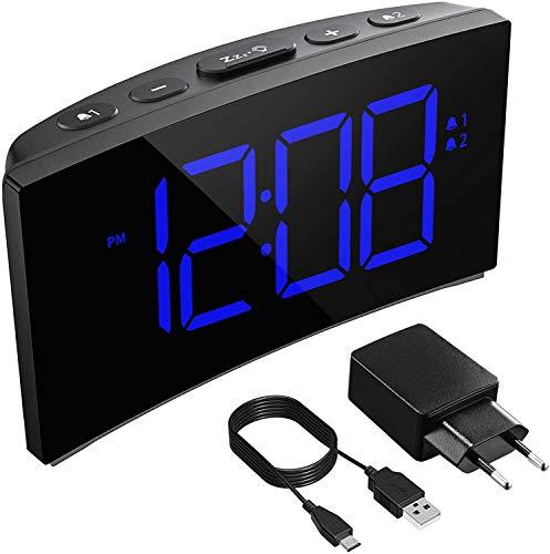 Holife Sveglia Digitale, Sveglia da Comodino LED con Adattatore, 3 Suoni Naturali/Grande Schermo/Funzione di...