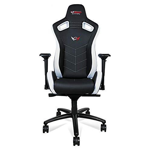 GT OMEGA SPORT Racing Gaming Stuhl mit Lendenwirbelstütze - Ergonomischer Bürostuhl mit 4D verstellbare Armlehne & Recliner - PVC Leder Esport Sitz für Ultimate Gaming Experience - Schwarz Weiter Weiß