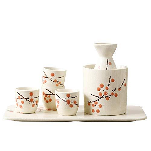 SBDLXY Juego de 7 Piezas de Sake Juego de Tazas de Sake japonés Diseño Tradicional Pintado a Mano Cerámica de Porcelana Tazas de cerámica Artesanías Copas de Vino, Blanco + Ciruela Azul