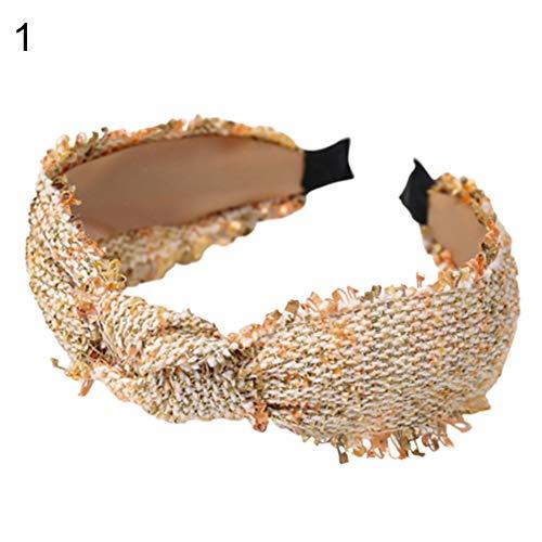 Goodluvk28 Stirnband für Frauen – Mode Frauen Twist Knoten Tweed Tuch Haarband Haarreif Kopfbedeckung Accessoire, Freunde oder Familie One Size Orange