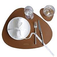 プレースマットコースターセット PUレザー 北欧 おしゃれ 防水、耐熱、すべり止めの洗える不規則なダイニングテーブル用テーブルマット 両面利用可 撥水 西洋料理マット