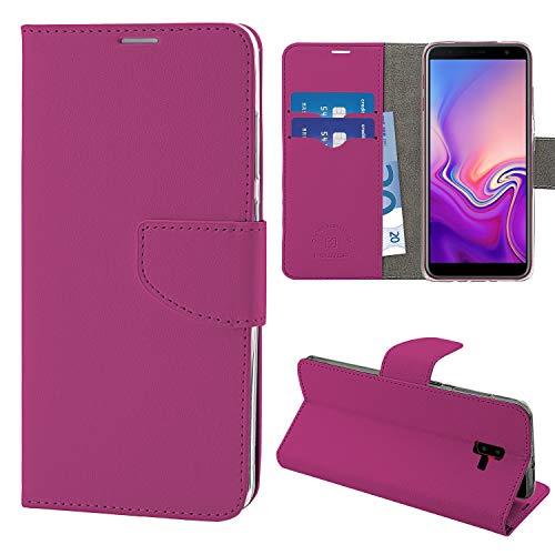 N NEWTOP Cover Compatibile per Samsung Galaxy J6 Plus (2018), HQ Lateral Custodia Libro Flip Chiusura Magnetica Portafoglio Simil Pelle Stand (Fucsia)