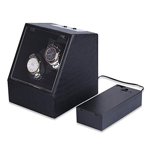 Oksmsa Automático Doble Cajas Giratorias for Relojes, 4 Modos De Rotación, Cuero Caja De Reloj En Negro Color