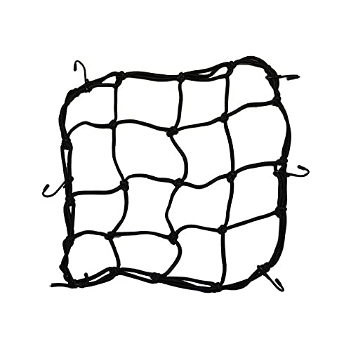 NICOLIE Elasticated Bungee Cargo Luggage Package Net With 6 Hooks For Rear Bicycle Bag Basket Bike Cycling Accessory Jc - BLACK