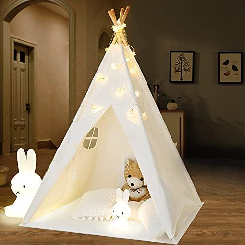 Tipi Enfant avec Tapis & Lumières & Mallette de Transport, Grande Enfants Jouent Tente intérieure extérieure- Blanc Toile Indian...