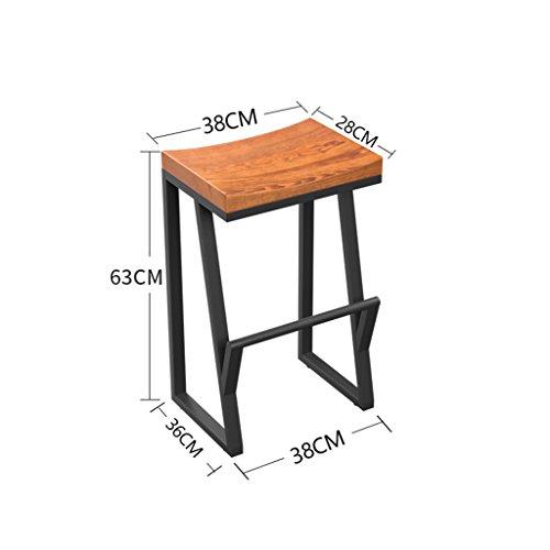 Tabourets Zaixi Rétro avec Repose-Pieds Chaise De Bar Fer + Bois Créatif Haut Loisir Bar De Bar Chaise De Café (Taille : 36 * 38 * 63cm)