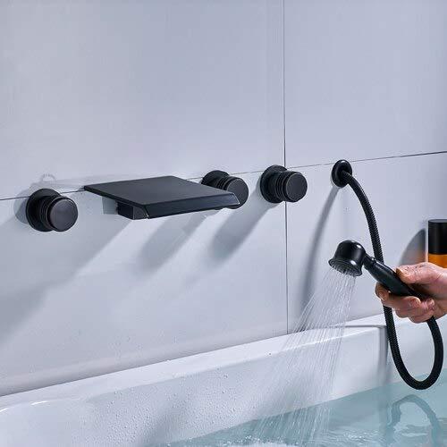 G0000D-Faucet recién llegada cascada aceite frotado bronce (negro) bañera grifo de montaje en pared tres manija interruptor mezclador latón sólido caliente y frío =={}