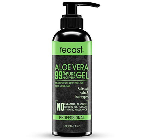 Recast Organic Aloe Vera Gel, Hydrating & Soothing Gel for Face, Body, Hair, Facial Moisturizer, After Sun Body Moisturisers - Care for Sunburn, post peel etc