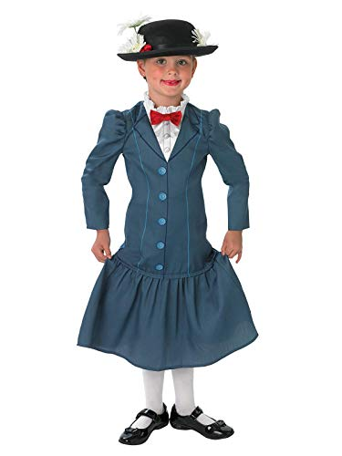 Rubie's Official 1960s Mary Poppins + Hat Girls Déguisement Costume Disney Childs Années 1960, Multicolore, Medium Ages 5 - 6 Years