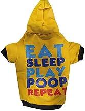 Pets Empire Eat Sleep Play Poop Repeat Dog Coats Chihuahua Clothes Sweatshirt Pet Puppy Cat Jacket (14 Inch, Mustard)