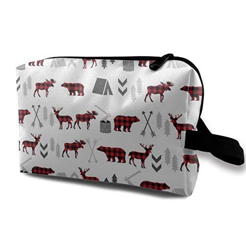 Hdadwy Kleine süße Make-up-Tasche für Geldbörse Make-up Pinsel Tasche Mini Travel Kosmetiktasche (Buffalo Bear Plaid Woodland Moose White)
