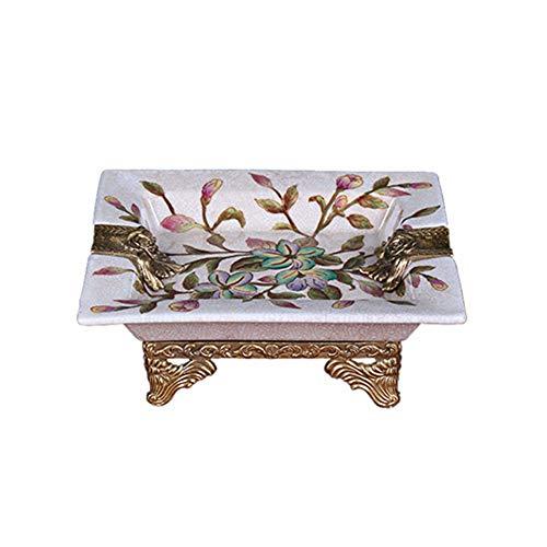 WNTHBJ woonkamer retro keramische ingelegd koper vierkante rook schotel, klassieke woonaccessoires villa decoratie, keramische sieraden ambachten