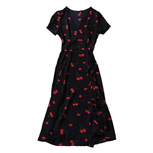 TSP Vestido floral con estampado de cereza salvaje vestido de verano de manga corta con cuello en V Fajas Midi Vestido de gasa femenina para fiesta de mujer (color: negro, tamaño: L)