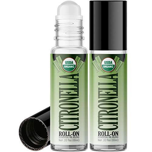 Organic Citronella Roll On Essential Oil RollerBall (2 PACK - USDA CERTIFIED ORGANIC) Pre-diluted with Glass Roller Ball for Aromatherapy, Kids, Children, Adults Topical Skin Application - 10ml Bottle