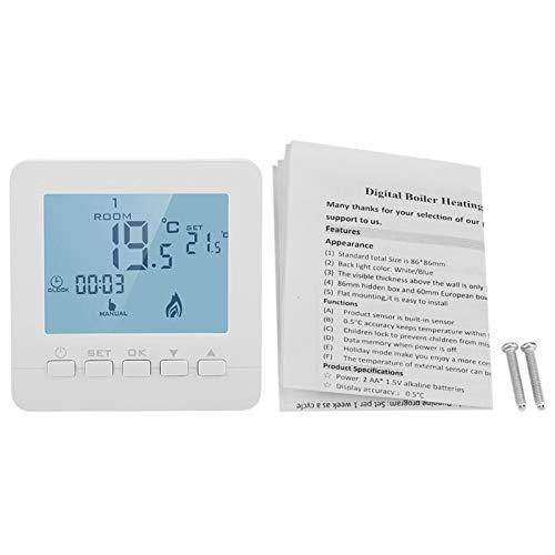 Atyhao Termostato programable, Pantalla LCD Digital, Controlador de Temperatura Inteligente, Pantalla táctil Grande, termostato de refrigeración y calefacción, fácil instalación