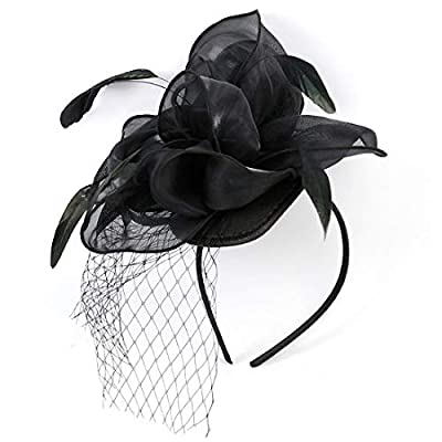Free Yoka Womens Fascinators Feather Pillbox Hat Cute Beads for Cocktail Kentucky Derby Ball Wedding Church Party