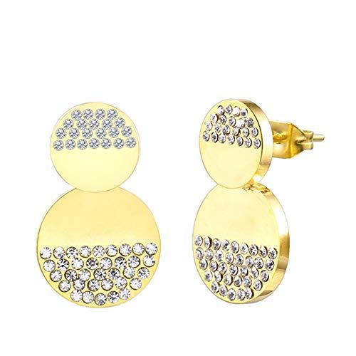 Burenqi Moda Ronda Stud Pendiente Minimalista Plata Oro Acero Inoxidable con Cristal Doble círculo Pendiente para joyería de Las Mujeres