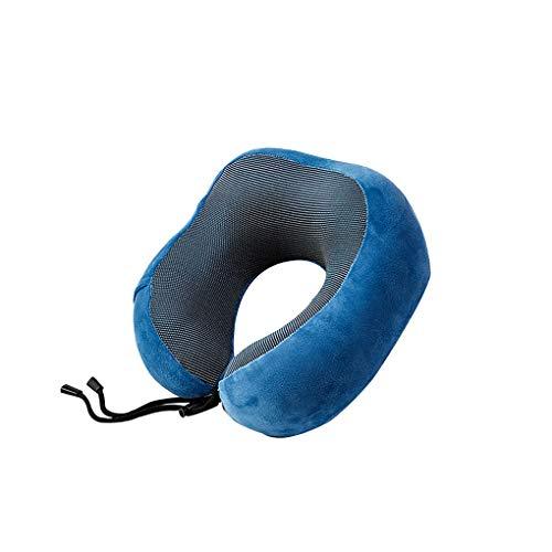 Mingtongli Almohada para Cuello en Forma de U Recorrido del Cabezal de Amortiguador del Resto del Cuello del Recorrido el Dormir Avión de Apoyo del utensilio, Azul, Almohada