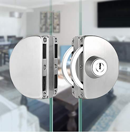 Qrity Cerradura para Puerta de Cristal, Cerradura de Seguridad Antirrobo de La Puerta de Cristal del Acero Inoxidable 10 ~ 12mm con Las...