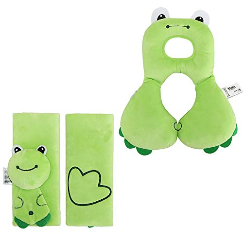 Car Seat Strap Covers & Head Support Pillow,6-12 Months Baby Neck Pillow and Infant Seat Belt Cover,Head Neck Cushion Pillow and Shoulder Cushion Pad for Toddler Baby Carseat or Stroller (Green)
