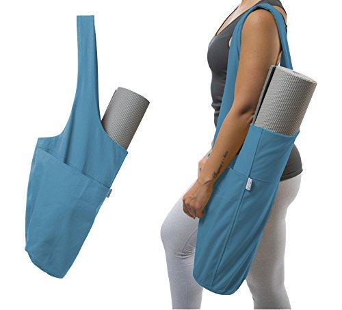 Yogiii Yoga Mat Bag | The Original YogiiiTote | Yoga Mat Tote Sling Carrier w/Large Side Pocket amp Zipper Pocket | Fits Most Size Mats Azulene Blue