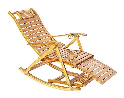 Mobili da giardino per sedia a dondolo per patio e Outdoor Rocking Chair Porch Mobili, pieghevole da giardino Sedia a dondolo con massaggio ai piedi e cuscino di bambù ° -150 regolabile Relax Sedia a