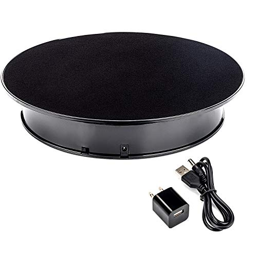 Leadleds 12 Inches Black Color Turntable Display Stand for Jewelry Portrait Model Photography Bracelet Shoe Exhibition