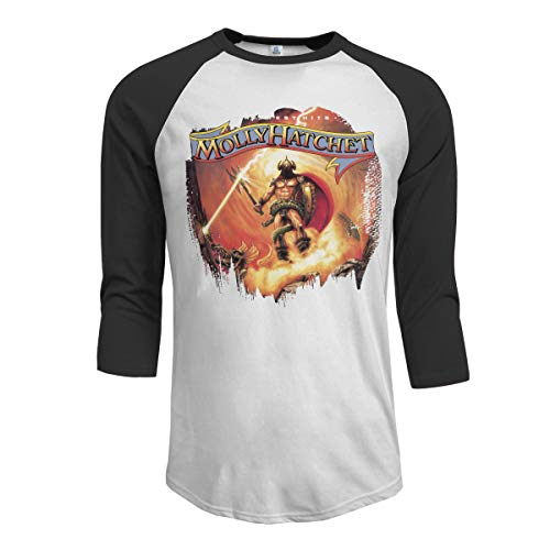 GSV Men's Molly Hatchet Greatest Hits 3/4 Sleeve Raglan Baseball T Shirts Black Large