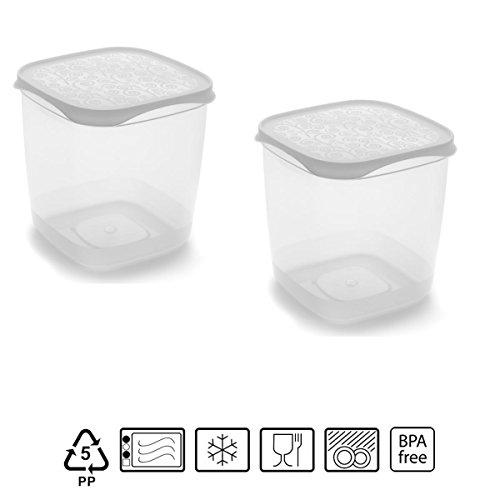 Set de 2 Coupelles hermeticos carrés avec couvercle Blanc de 1,4 litres – BPA Free.