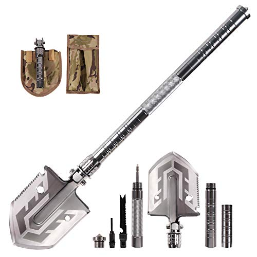 REDCAMP Military Folding Camping Shovel , 23 in 1 Tactical Survival Shovel Mutlitool for Outdoor Hiking Emergency, Silver