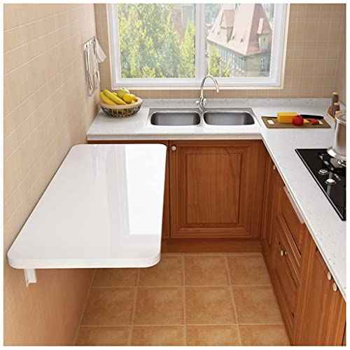 WallSounted Table30cmwide Desktop es impermeableScratch-Resistente a la Resistencia a la Mesa Redondeado redondeadoCornerswall Skind Sky StudyTedroomBathroomBalcony,Blanco,30 * 80CM