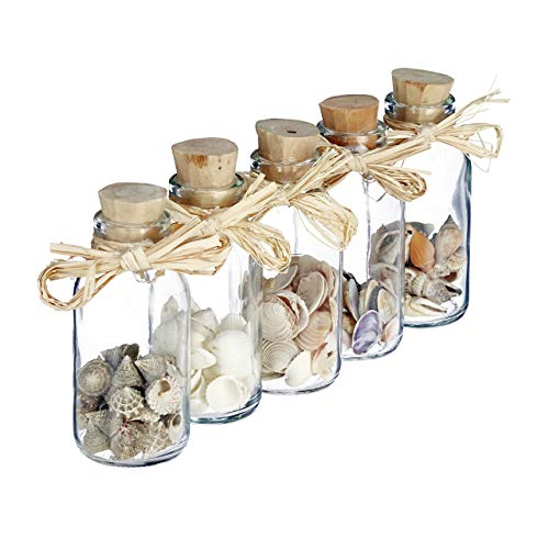 Relaxdays Muschel Deko Fläschchen, 5er Set Muschel-Mix, maritime Bad Dekoration, Sea shells, Mini Glasflaschen, natur